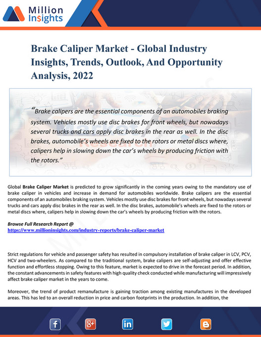 My publications - Brake Caliper Market - Global Industry Insights