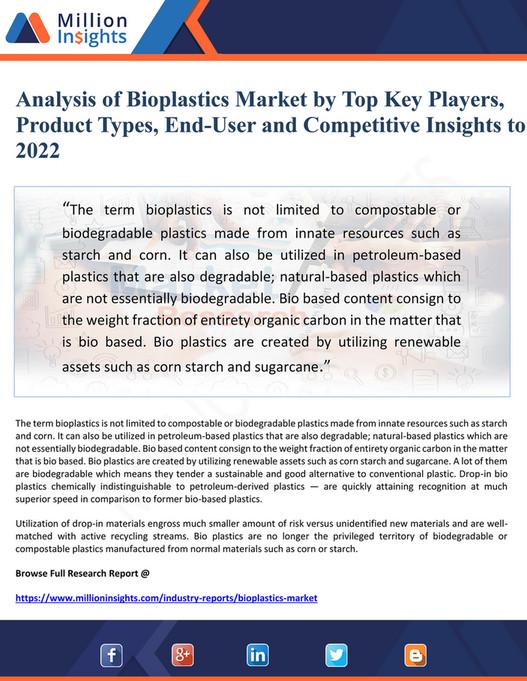 My publications - Analysis of Bioplastics Market by Top Key