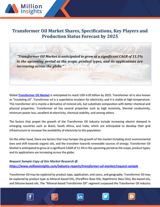 Million Insight - Transformer Oil Market Shares