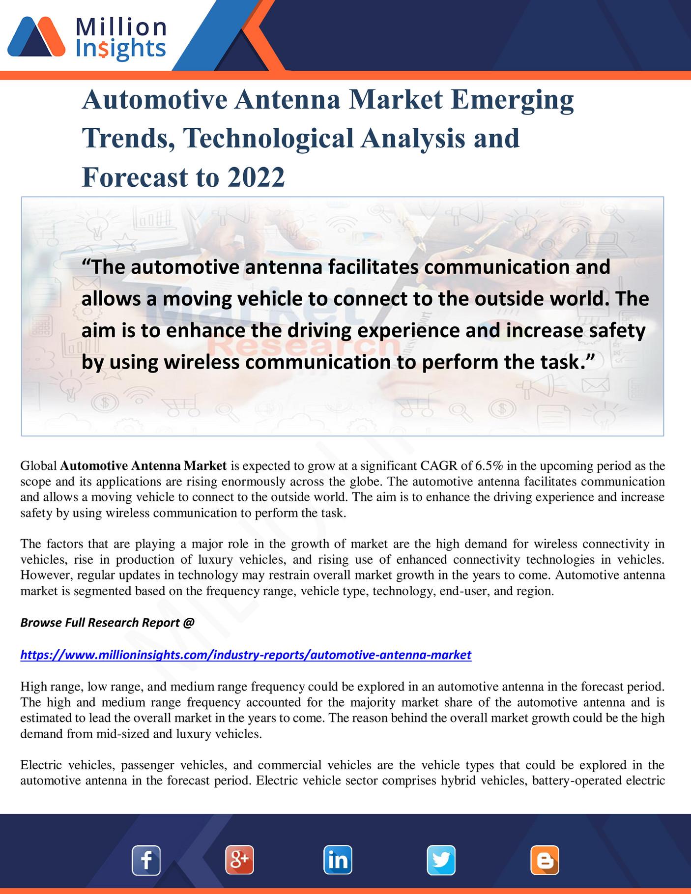 Million Insights - Automotive Antenna Market Emerging Trends