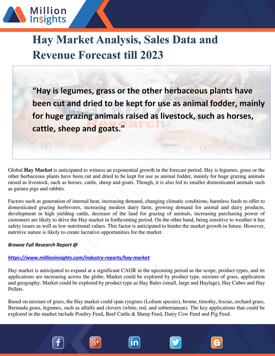 Million Insights - Hay Market Analysis, Sales Data and Revenue