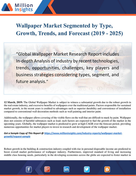 Wallpaper Market Segmented by Type, Growth, Trends, and Forecast (2019 - 2025