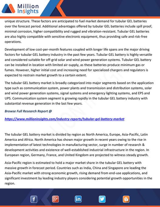 Million Insights - Tubular GEL Battery Market Share, Market