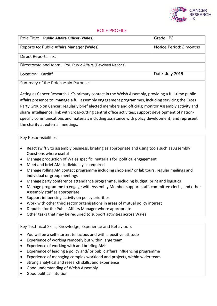 Cancer Research UK - Role Profile - Public Affairs Officer (Wales) - Page 1  - Created with Publitas.com