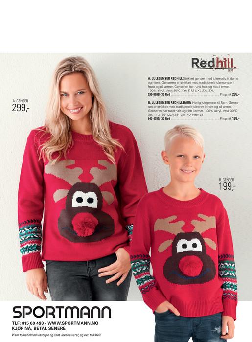 63f3c154 A. JULEGENSER REDHILL Strikket genser med julemotiv til dame og herre.  Genseren er strikket