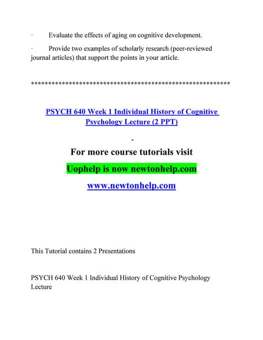 Ashford University - PSYCH 640 Course Extrordinary Success