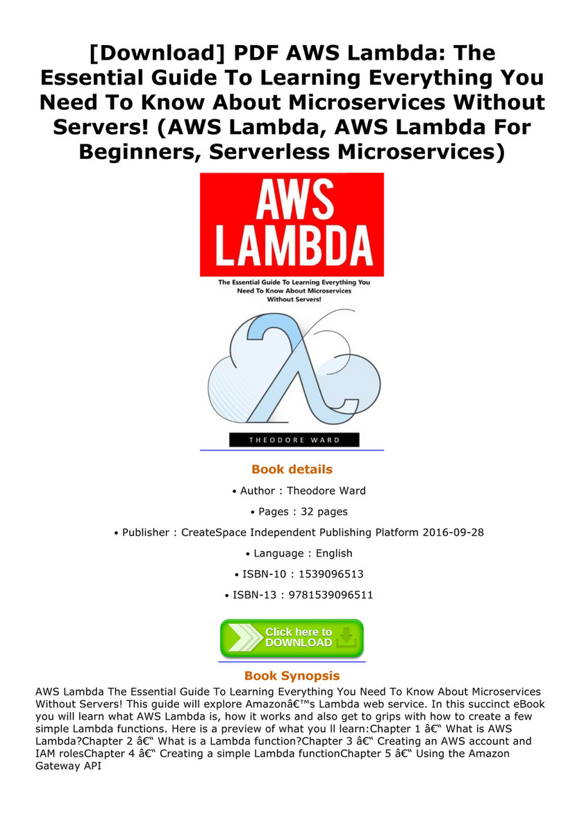 My publications - Download PDF AWS Lambda The Essential Guide To