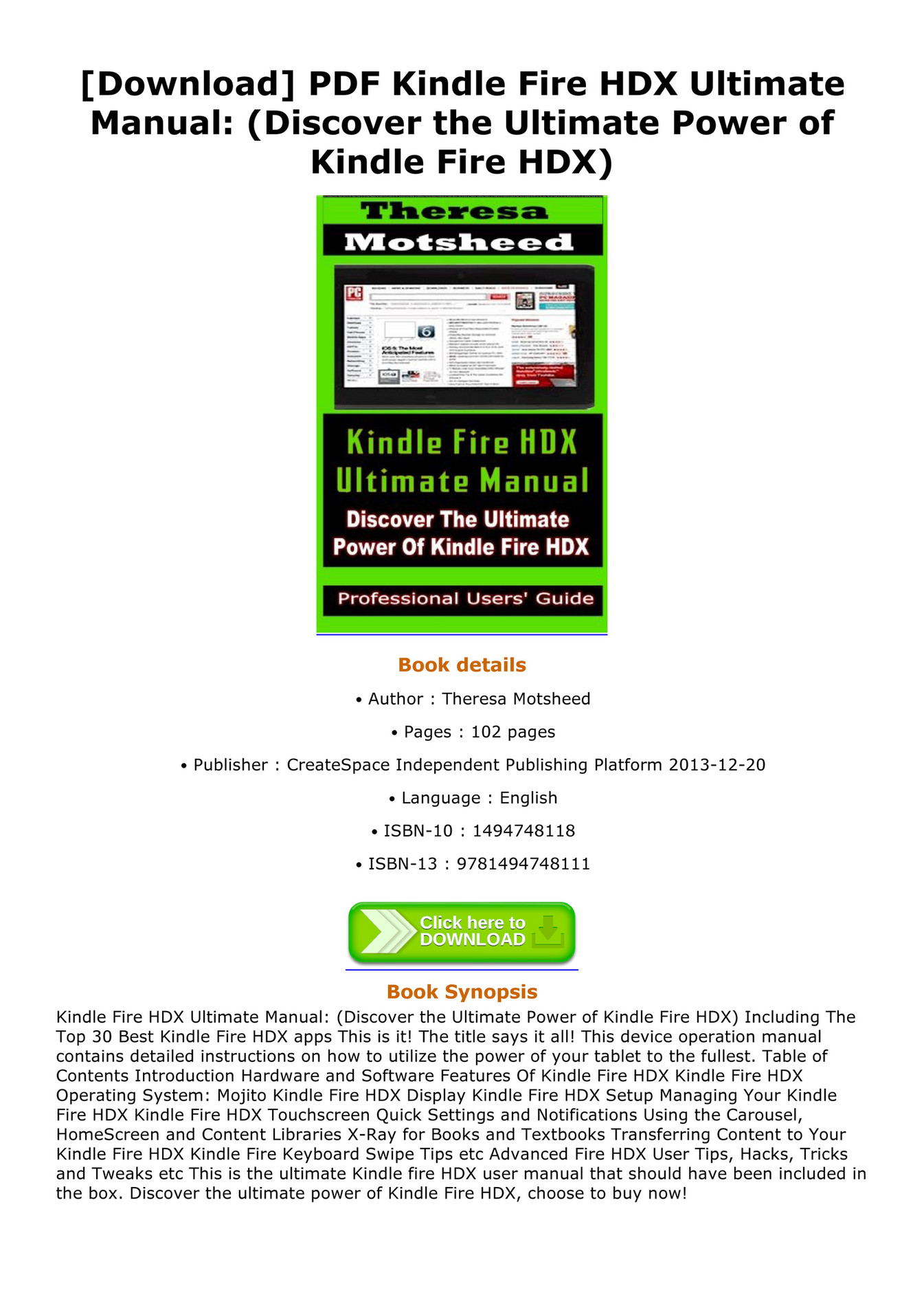 Richelle - Download PDF Kindle Fire HDX Ultimate Manual