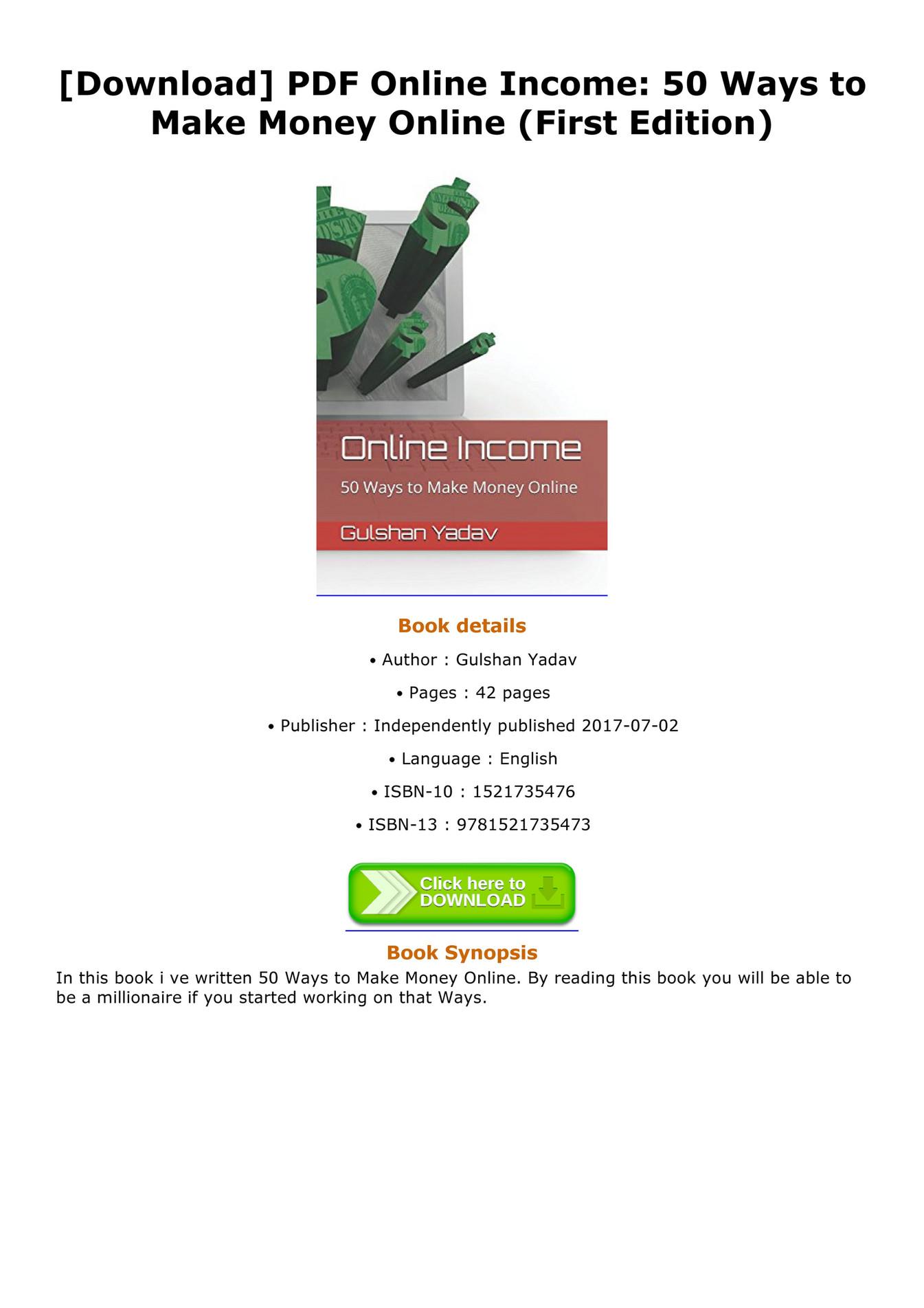 Make Money Online Pdf Free Download