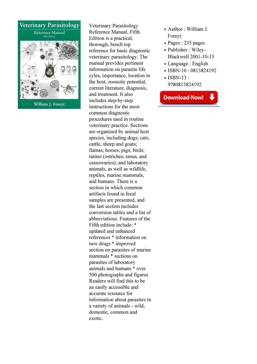 Veterinary Parasitology Book