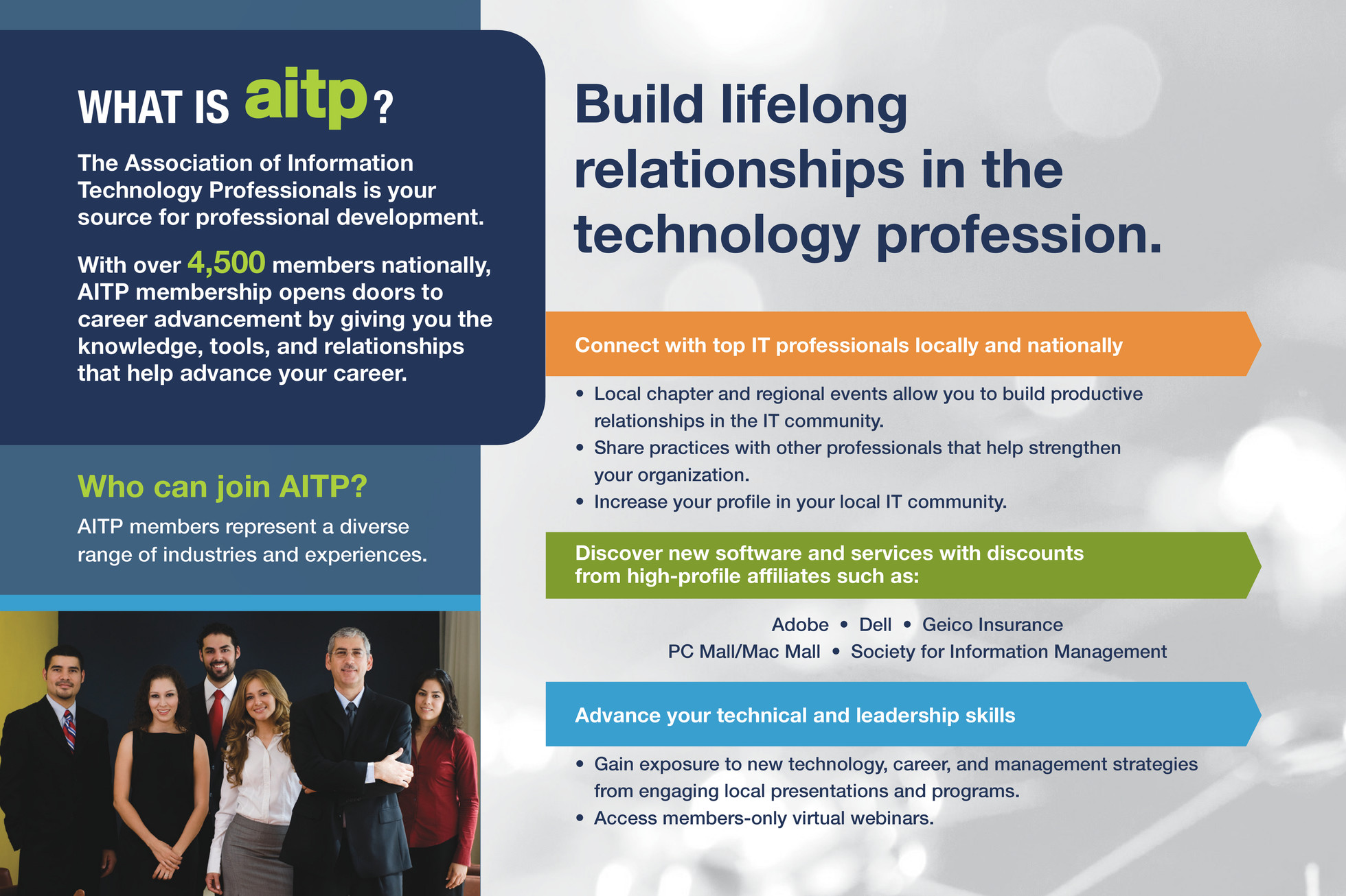 my publications aitp membership brochure page 2 3 created professional standard membership for those in the it profession enterprise student to professional group memberships are available for organizations