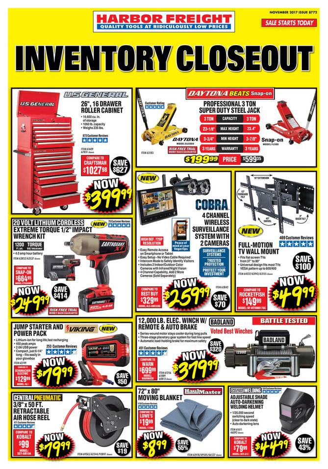 Monthly ad november 2017 issue 8772 harbor freight sale starts today quality tools at ridiculously low prices inventory sciox Gallery