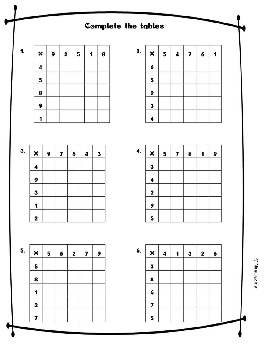 - Ninalazina - Mixed- Times-tables-worksheets-free UPLOAD PR - Page