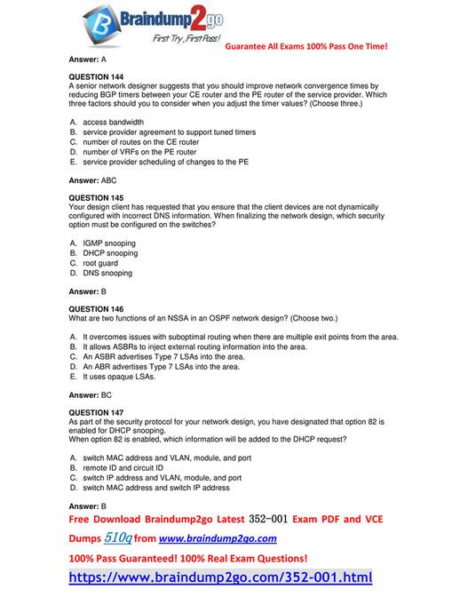 Braindump2go - [Full-Version]Free Braindump2go 352-001 PDF