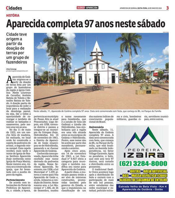 095d42634 Cidades 3 APARECIDA DE GOIÂNIA, SEXTA-FEIRA, 10 DE MAIO DE 2019 HISTÓRIA