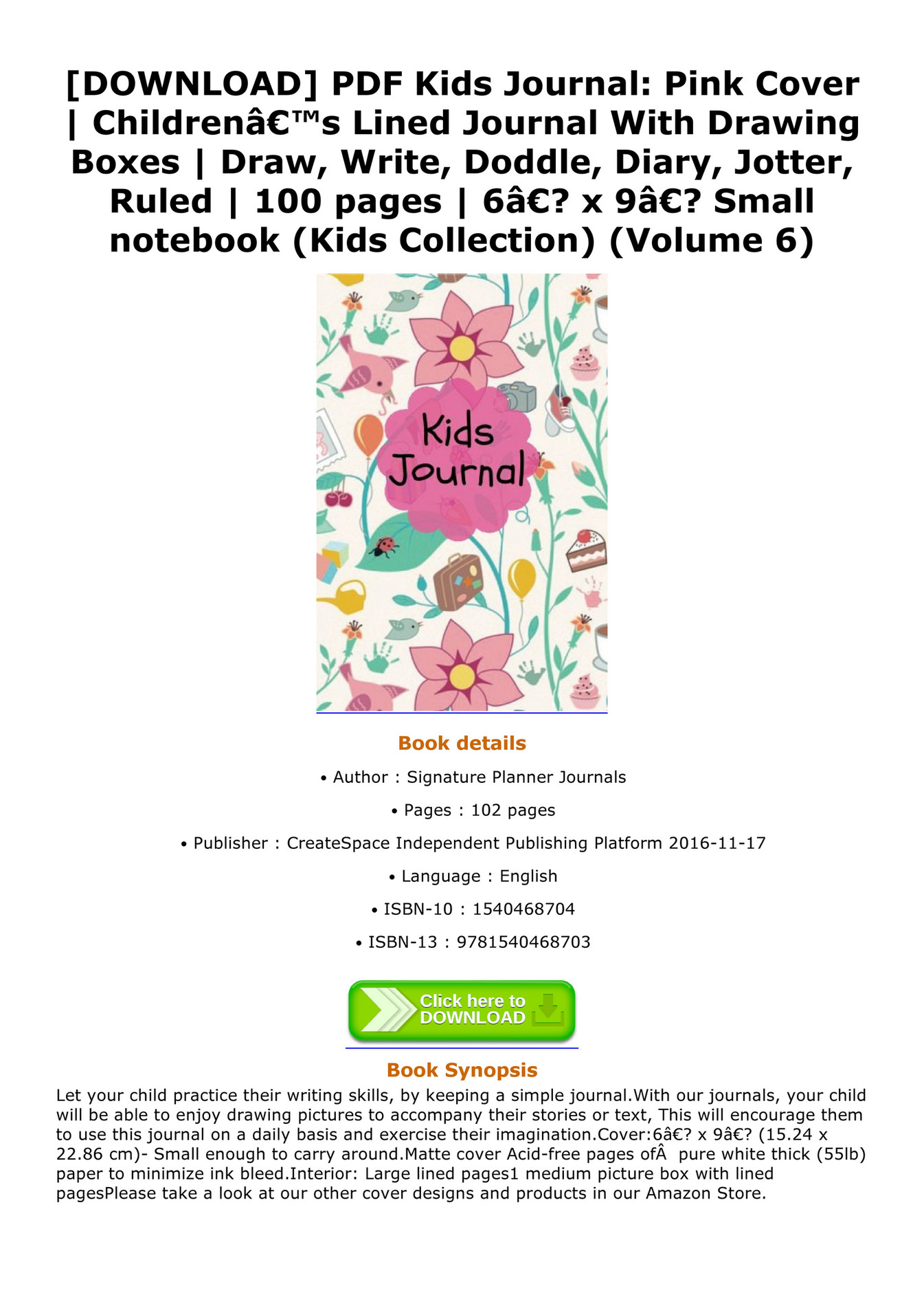 Toshiko Download Pdf Kids Journal Pink Cover Childrena S Lined Journal With Drawing Boxes Draw Write Doddle Diary Jotter Ruled 100 Pages 6a X 9a Small Notebook Kids Collection Volume Pdf