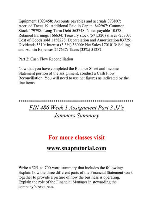 Ashford University - FIN 486 course Marvelous Learning/snaptutorial