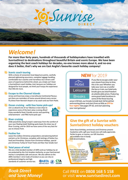 The UK Holiday Group - SunriseDirect 2019 Holiday Brochure - Page 1