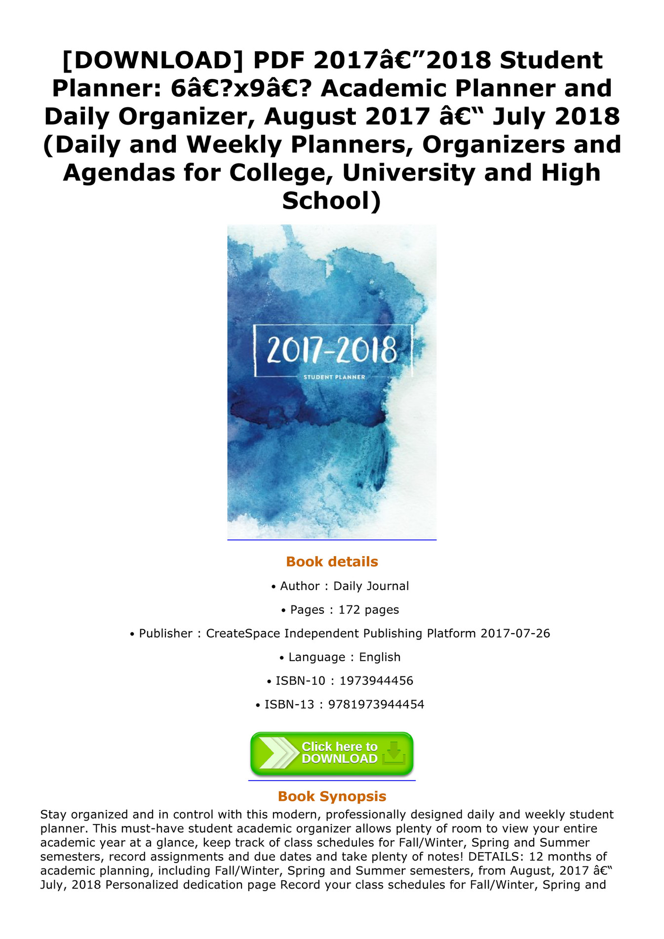 denisse download pdf 2017â 2018 student planner 6â x9â