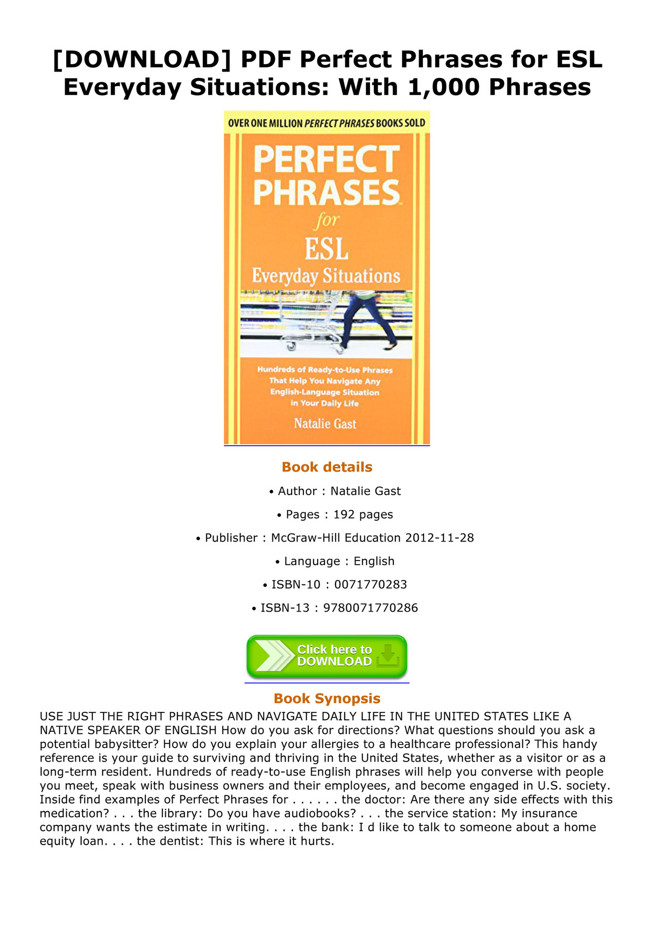 Becker Download Pdf Perfect Phrases For Esl Everyday Situations