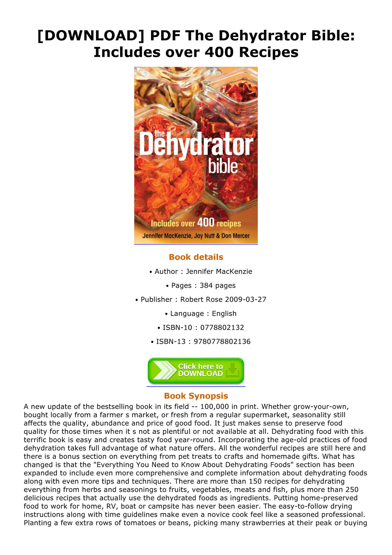 Bible pdf dehydrator the