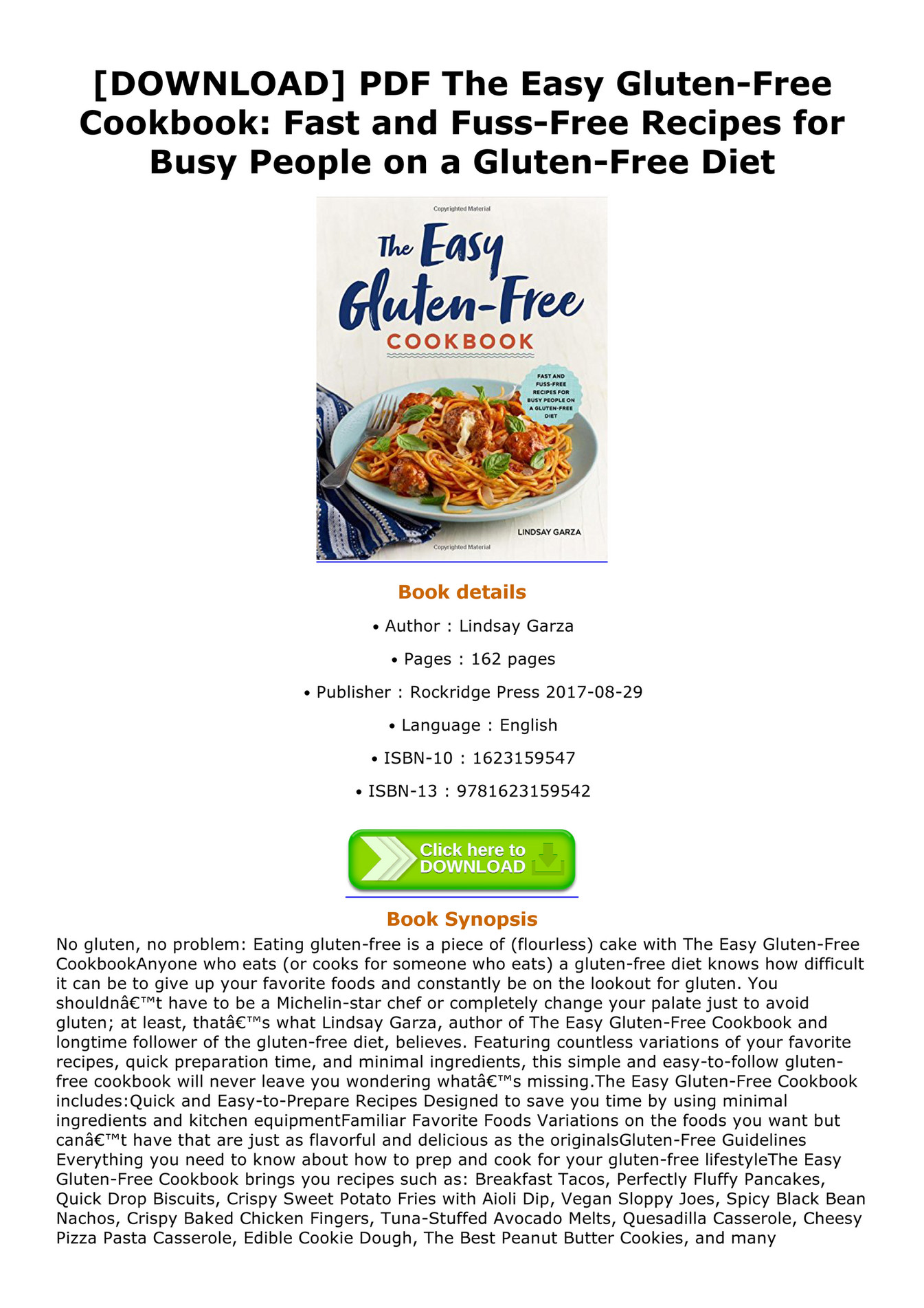 Gluten Free Recipes Pdf