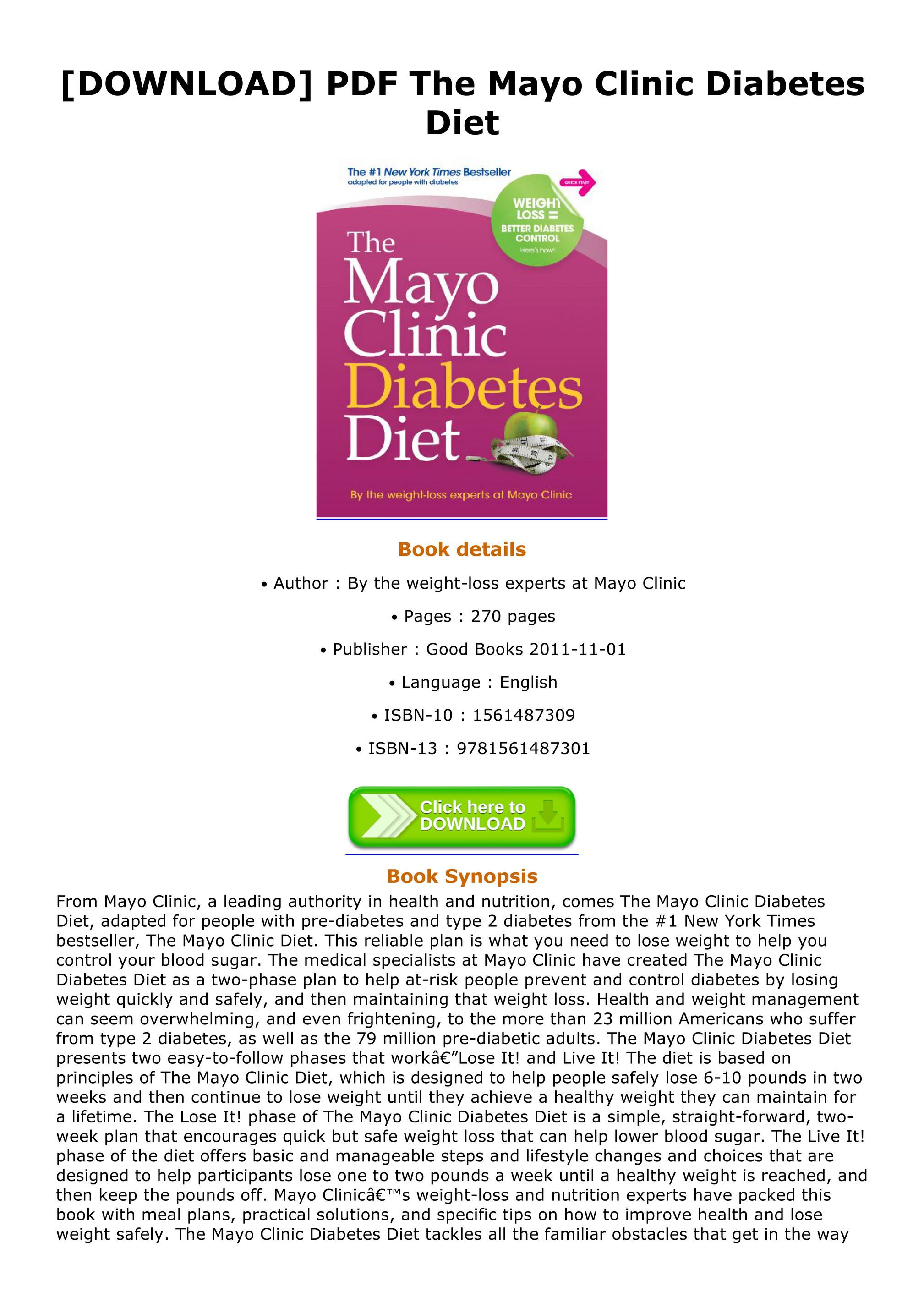 mayo clinic diabetes diet book pdf