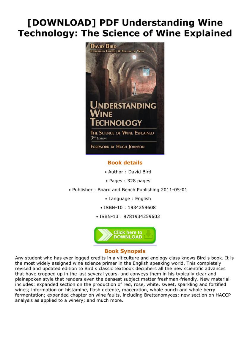aBOOK - DOWNLOAD PDF Understanding Wine Technology The
