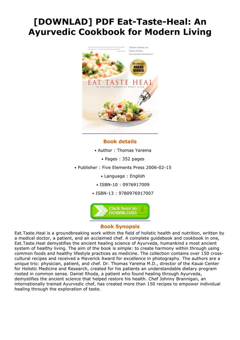 Ebook downlad pdf eat taste heal an ayurvedic cookbook for modern downlad pdf eat taste heal an ayurvedic cookbook for modern living forumfinder Images