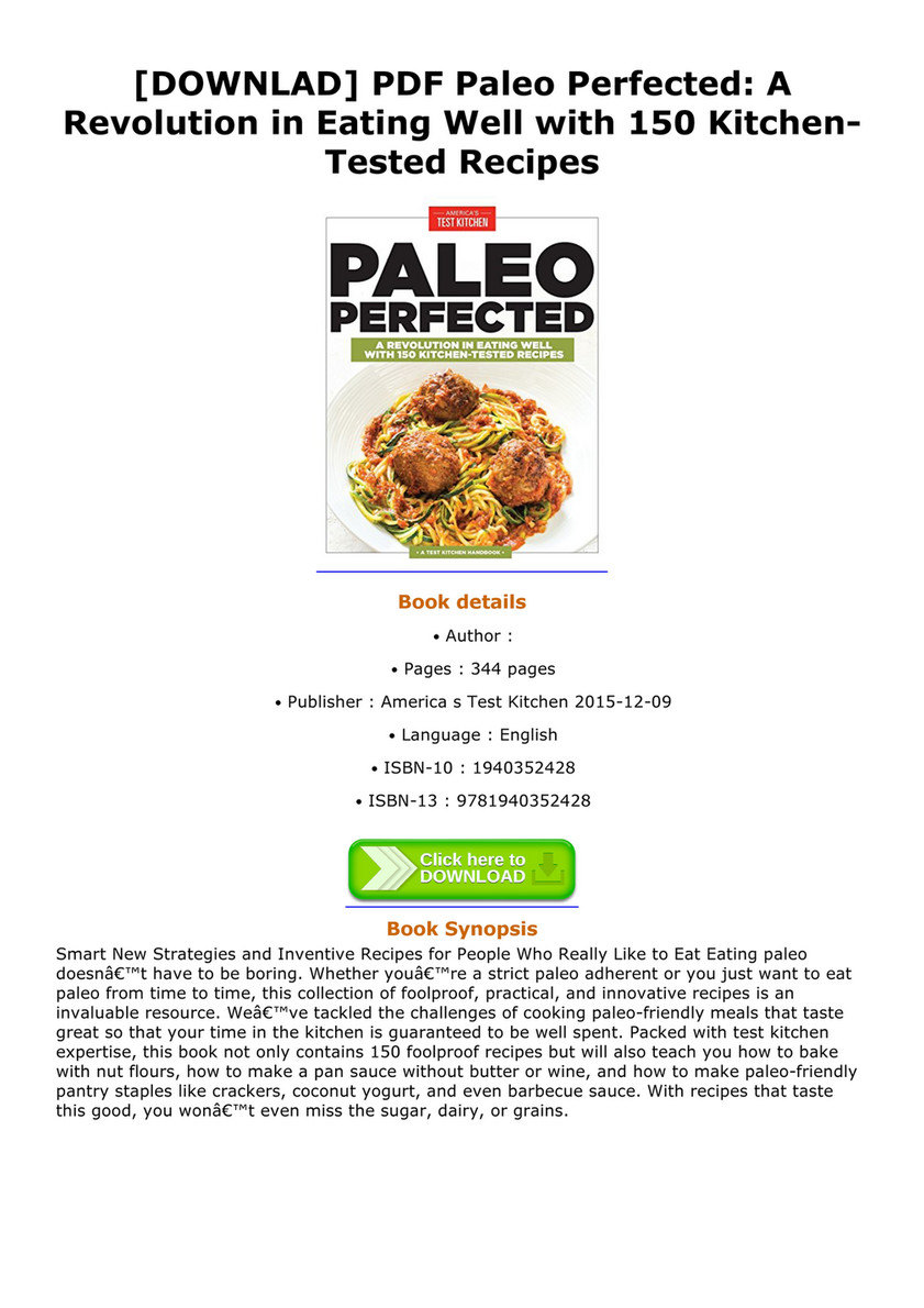 Ebook downlad pdf paleo perfected a revolution in eating well with downlad pdf paleo perfected a revolution in eating well with 150 kitchentested recipes forumfinder Image collections