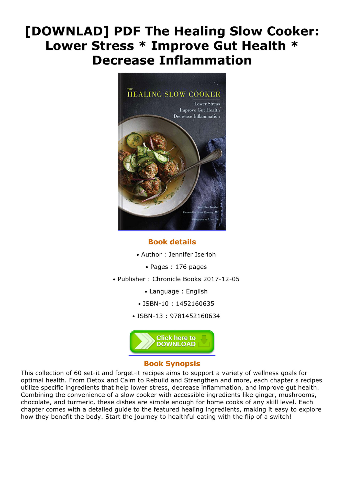 Glover BOOK - DOWNLAD PDF The Healing Slow Cooker Lower