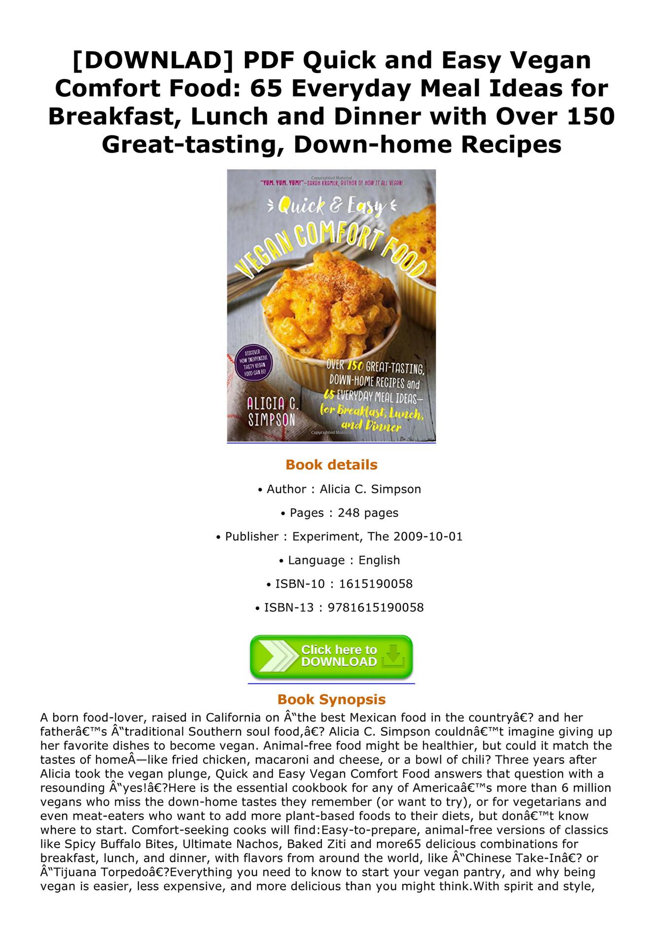 Westberg - DOWNLAD PDF Quick and Easy Vegan Comfort Food 65 Everyday ...