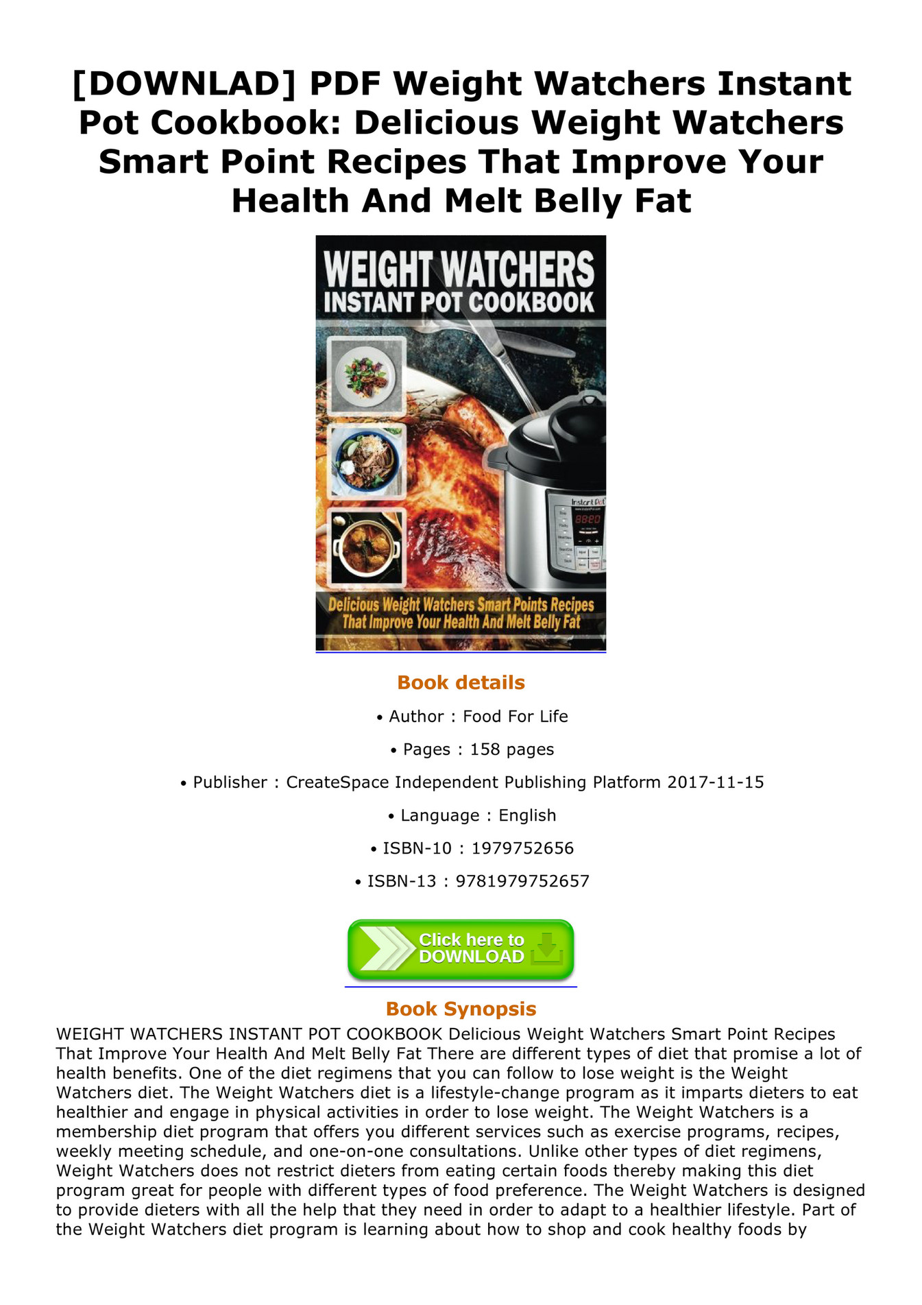 Weight Watchers Cookbook Pdf
