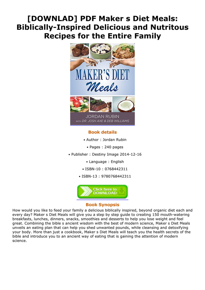 Aubrey downlad pdf maker s diet meals biblically inspired downlad pdf maker s diet meals biblically inspired delicious and nutritous recipes forumfinder Gallery