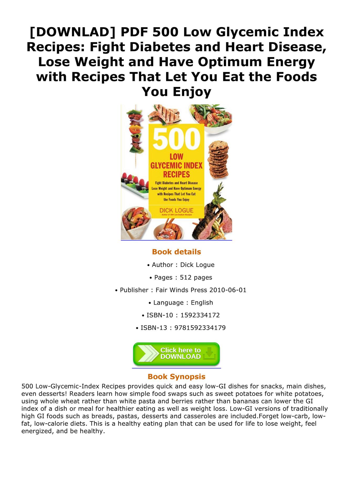 Shelton Downlad Pdf 500 Low Glycemic Index Recipes Fight