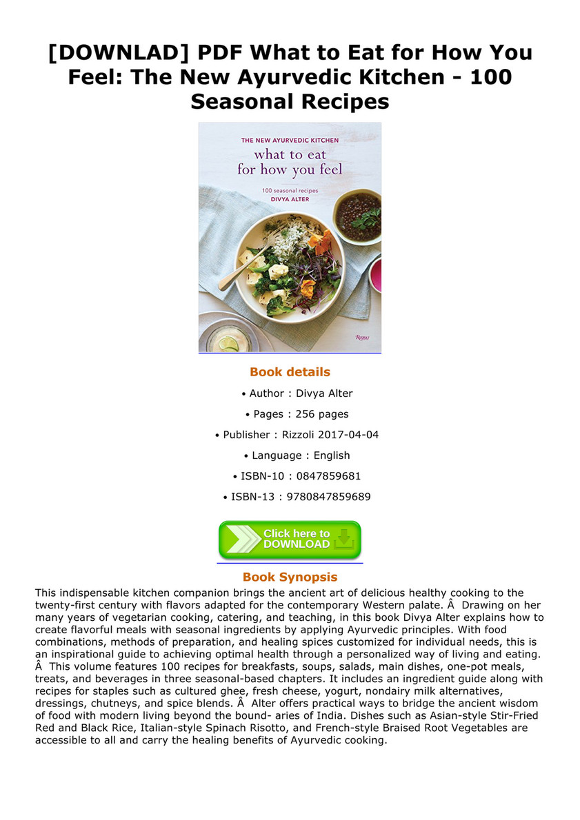 Cathern downlad pdf what to eat for how you feel the new ayurvedic downlad pdf what to eat for how you feel the new ayurvedic kitchen forumfinder Images