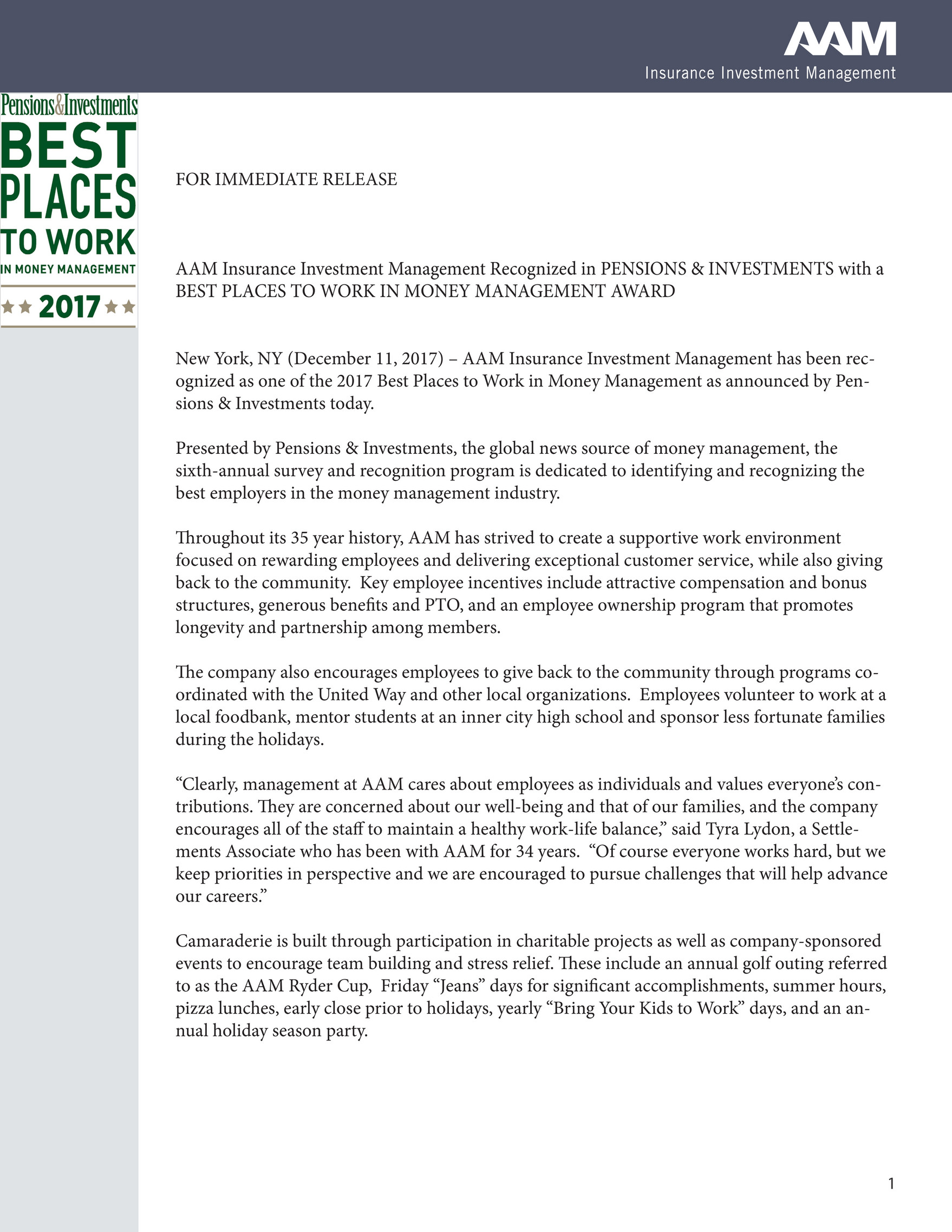 AAM-Insurance Investment Management - AAM Wins Best Place to Work in Money  Management - Page 1 - Created with Publitas.com
