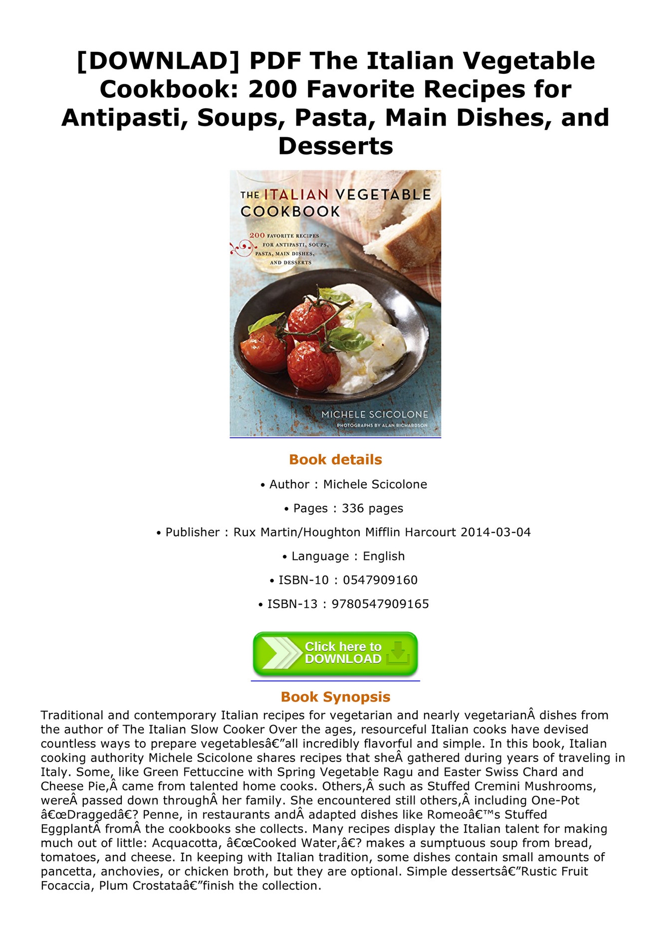 Italian Cookbook Pdf