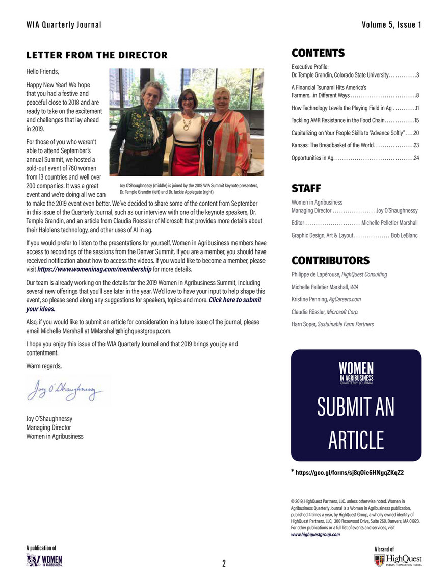 HighQuest - Women in Agribusiness Quarterly Journal Volume 5
