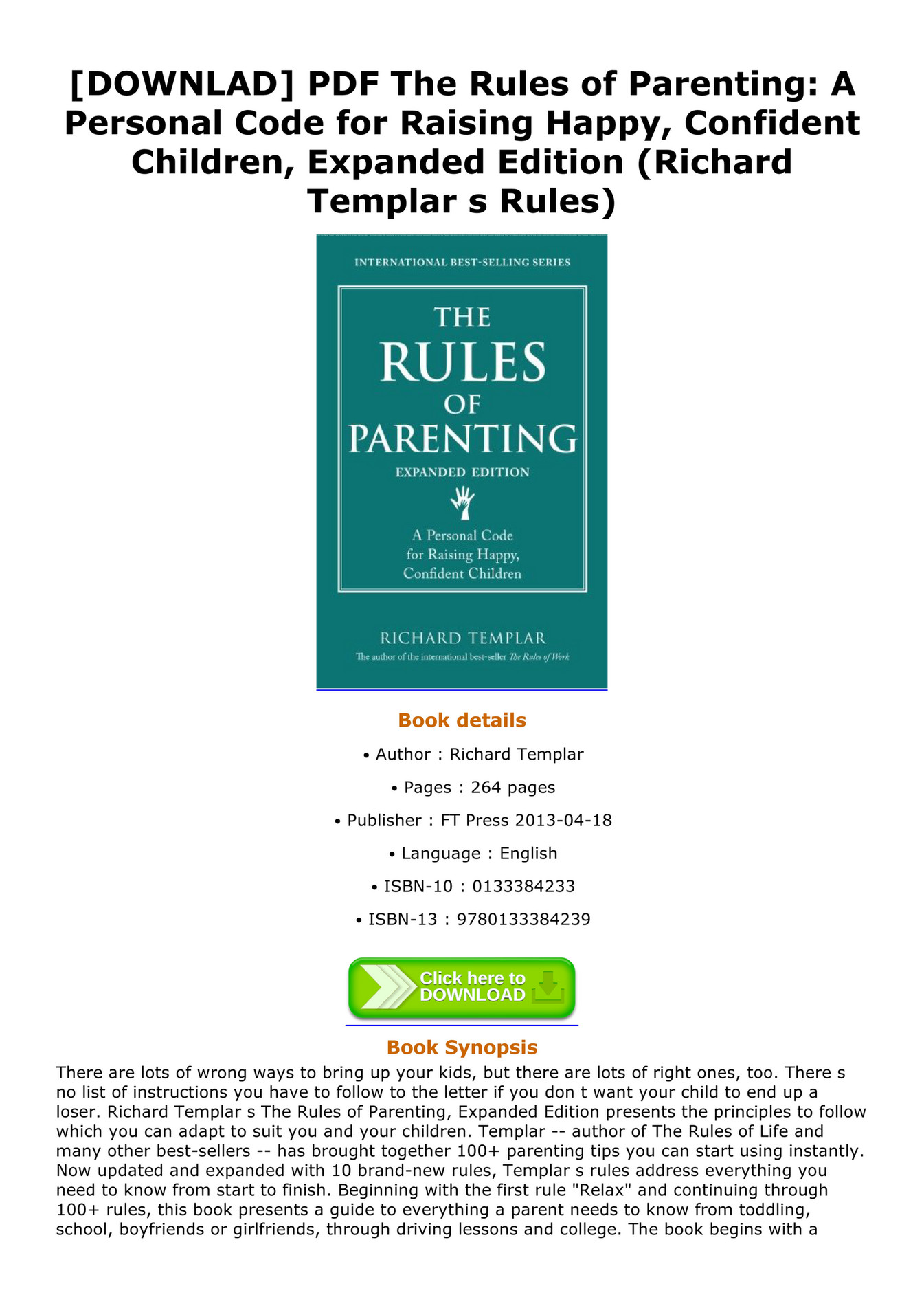 Titus - DOWNLAD PDF The Rules of Parenting A Personal Code