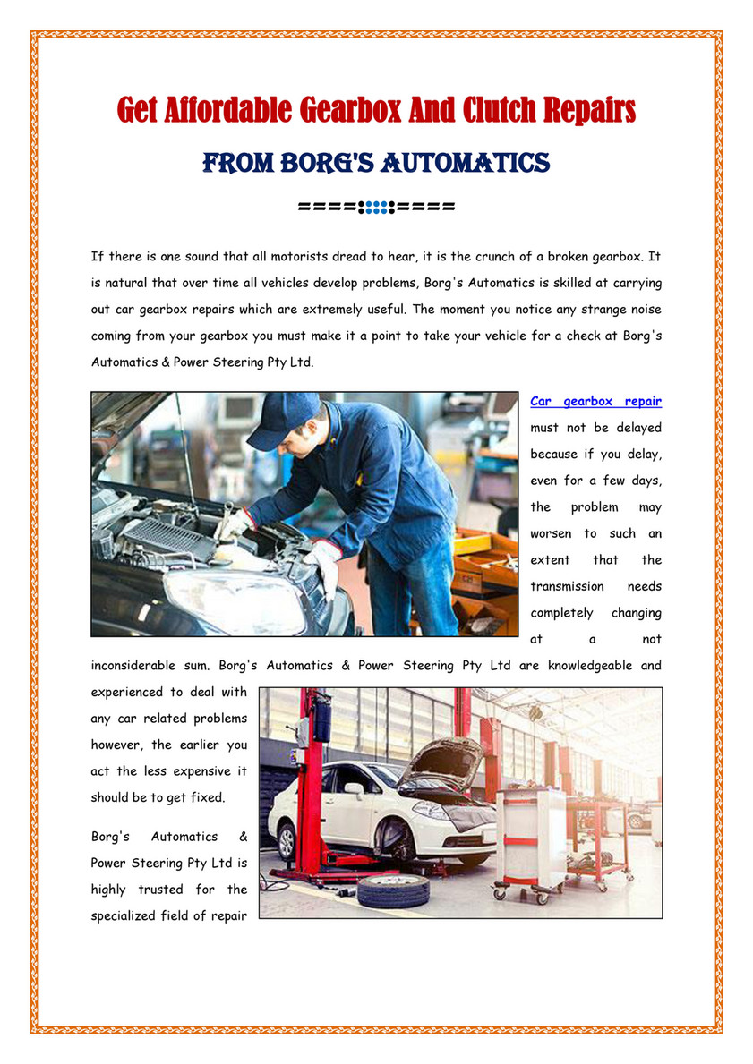 Borg's Automatics & Power Steering Pty Ltd - Get Affordable