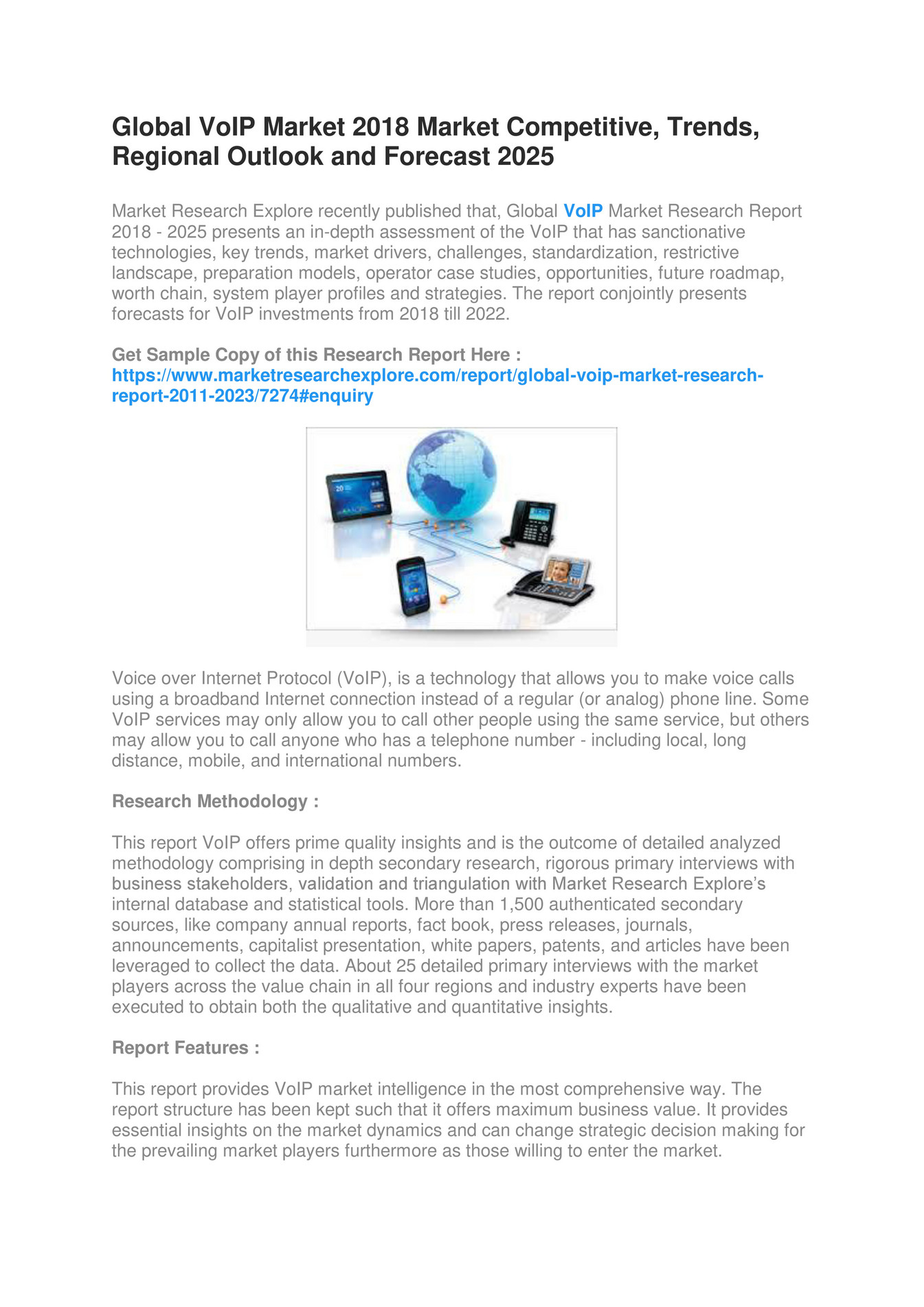 Market Research Explore - Global VoIP Market 2018 - Page 1