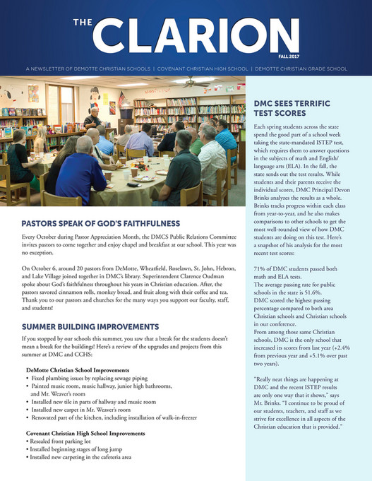 DeMotte Christian Schools - The Clarion Fall 2017 - Page 1