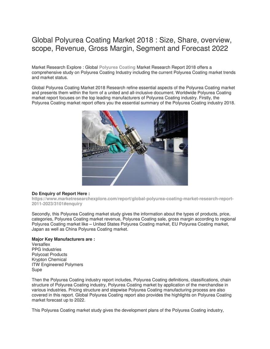 Market Research Explore - Global Polyurea Coating Market