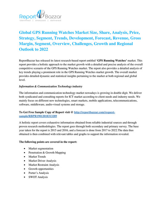 reportbazzar - GPS Running Watches Industry Global Market Overview