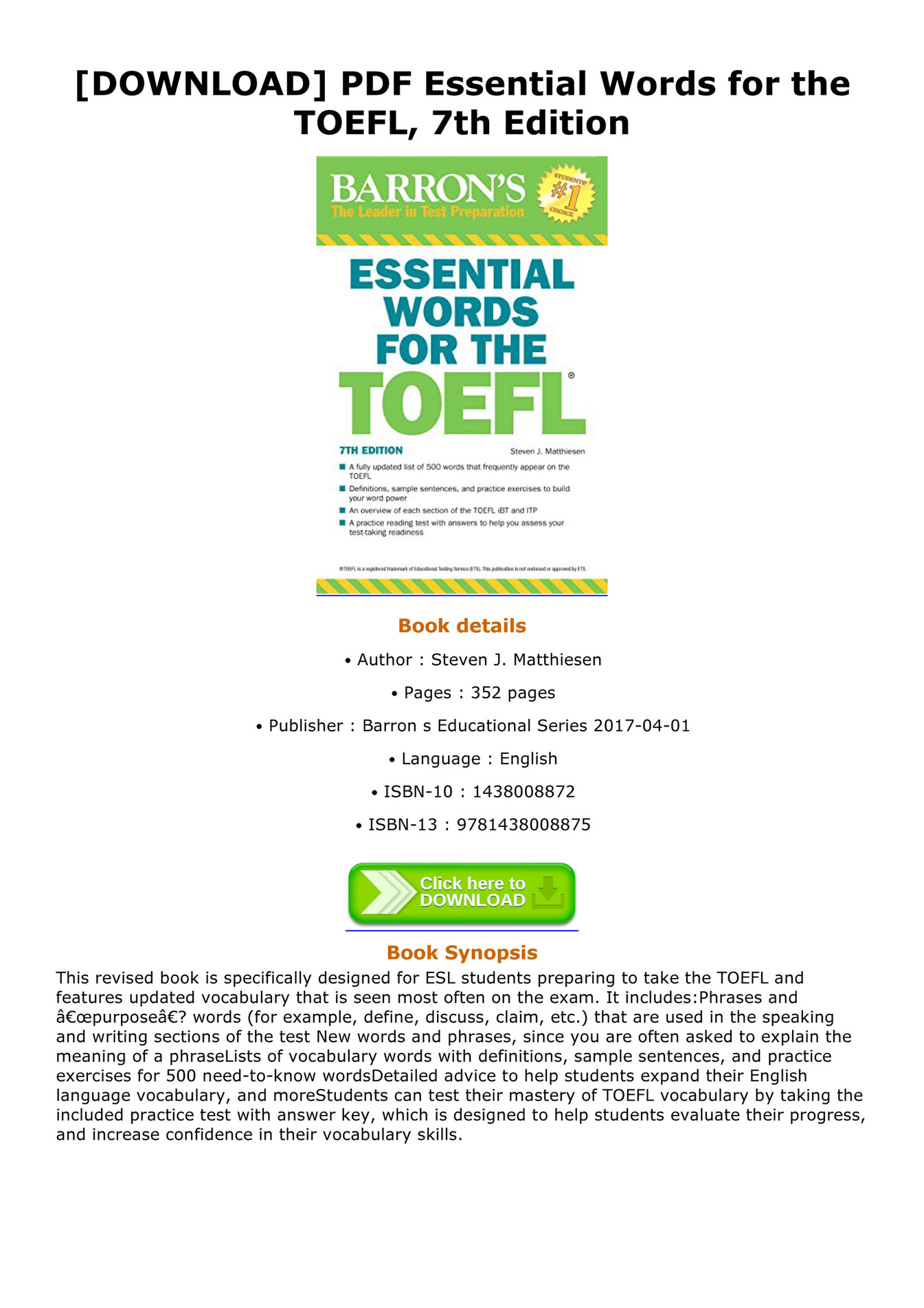 Barron Essential Words For The Toefl Pdf