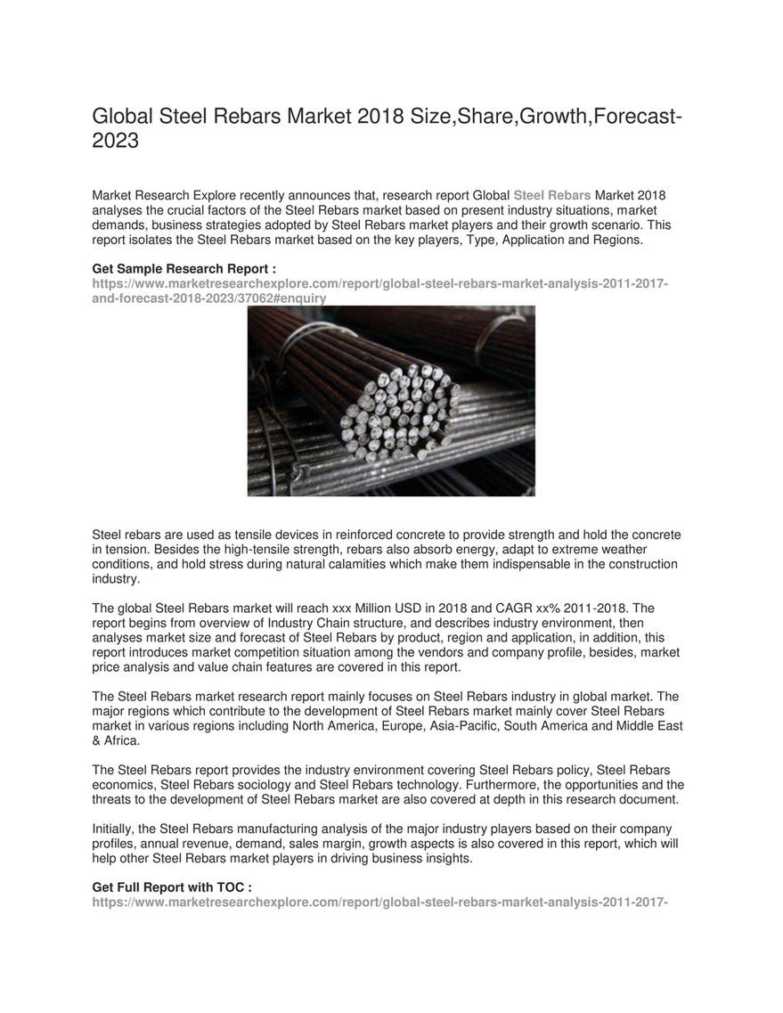 My publications - Global Steel Rebars Market - Page 1