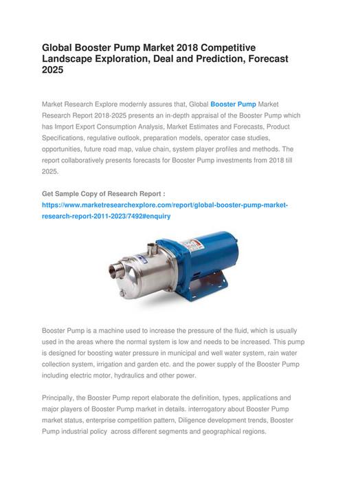 Market Research Explore - Global Booster Pump Market 2018