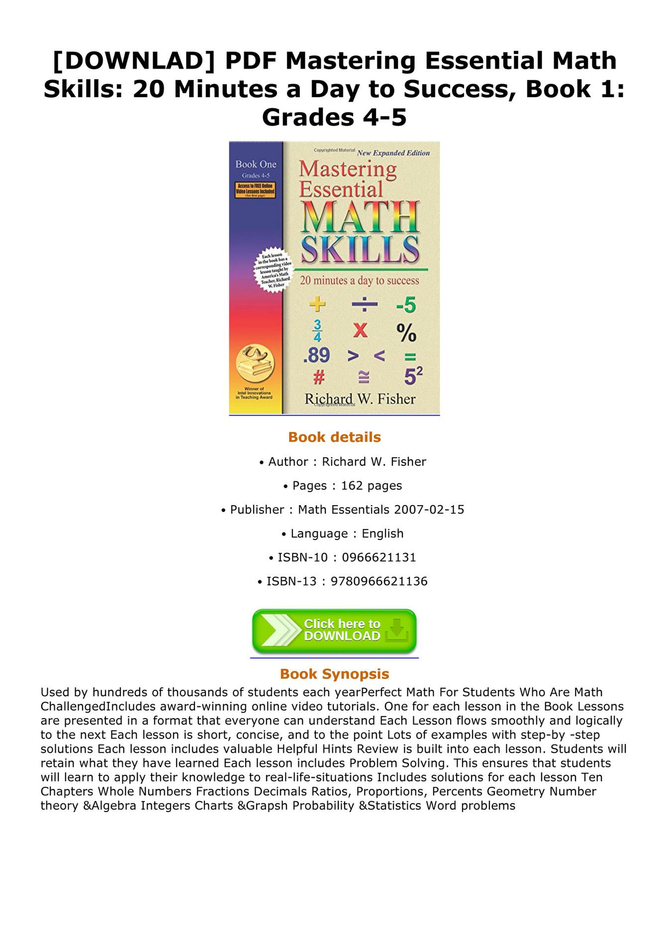 Cavalieri - DOWNLAD PDF Mastering Essential Math Skills 20 Minutes a