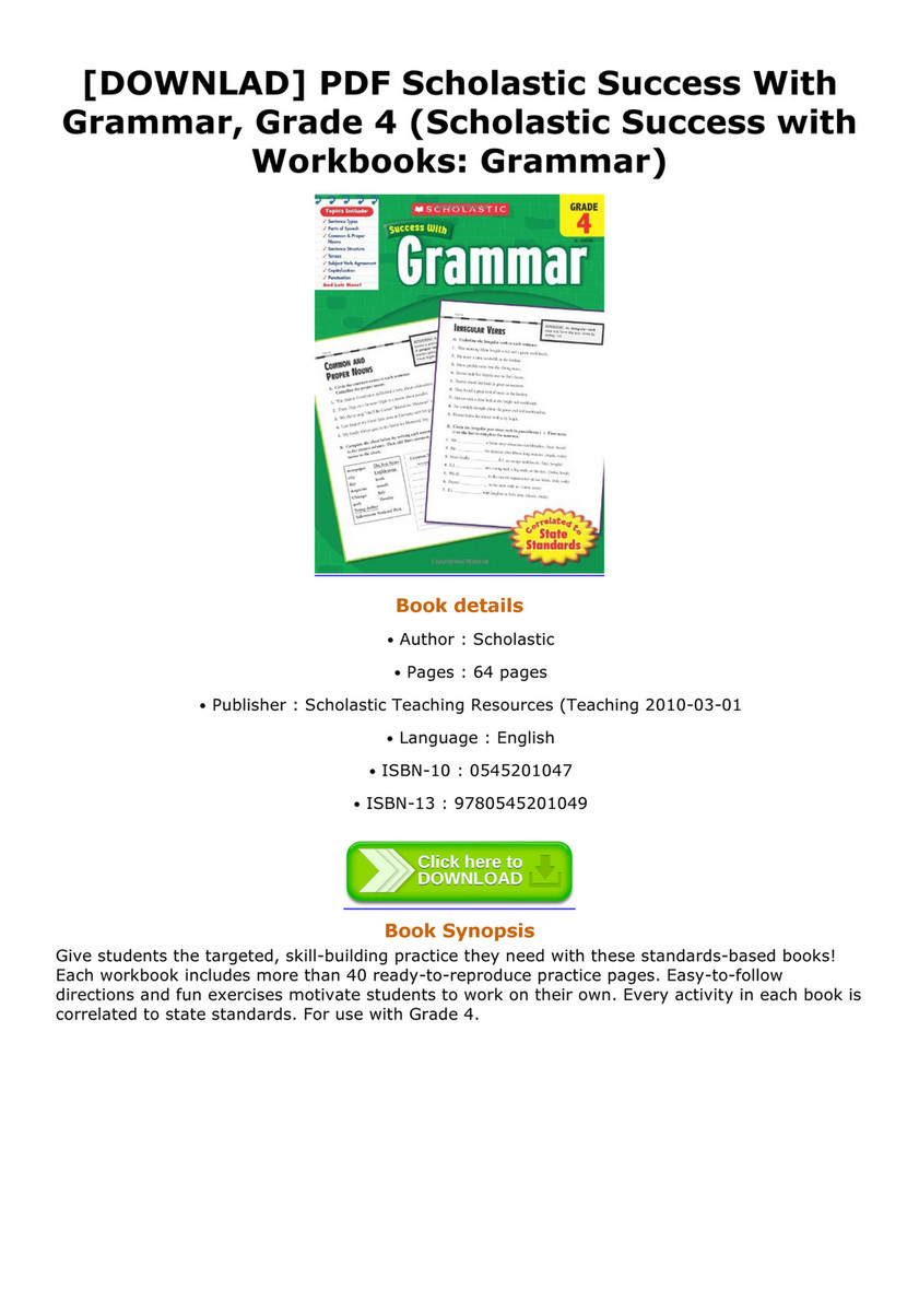 [DOWNLAD] PDF Scholastic Success With Grammar, Grade 4 (Scholastic Success  with Workbooks